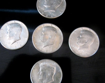 Vintage Silver Coin 1964 Kennedy US Half Dollar 90 Percent Silver Set of Five