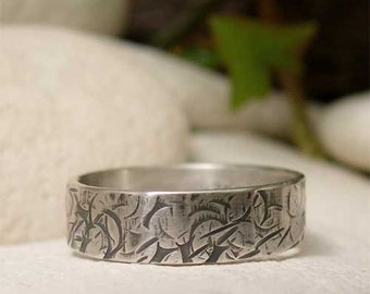 Sterling Silver Band Ring, Distressed Hammered Silver Ring, Hand Forged Metalsmith Jewelry,  Modern Organic Ring, Grunge Wedding Jewelry