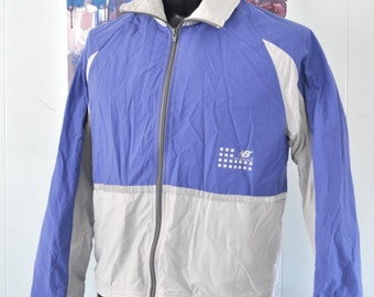 Vintage Windbreaker New Balance Classic Gray Blue Running Reflective Jacket USA 80s SHORT MEDIUM