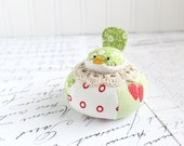 Red and Green Floral Bird Pincushion Cotton Pin Cushion
