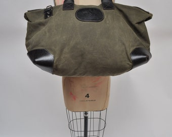 vintage leather duffle bag duffel vintage waxed canvas CARRY-ON tote shoulder luggage bag overnight DUFFLE