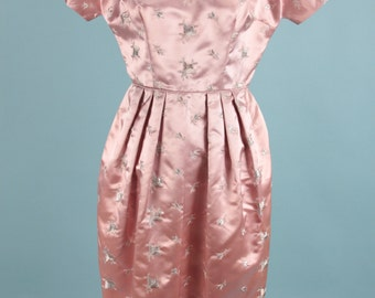 Vintage 60s Satin Pink Wiggle Dress Silver Floral Embroidery ~ Small