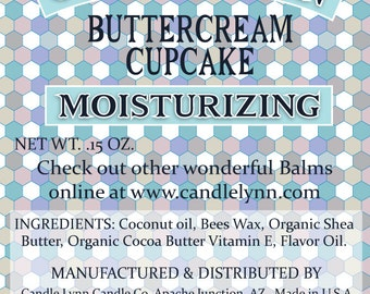 BUTTERCREAM CUPCAKE Lip Balm by Candle Lynn - Made with Organic Shea and Cocoa Butters
