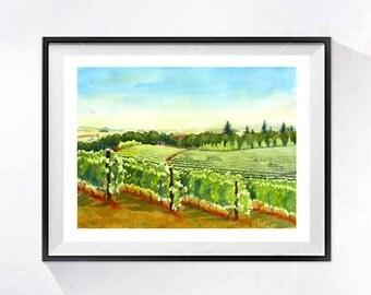 Vineyard art Print Watercolor Painting Landscape painting green painting Vineyard wall art  Napa Valley wine painting wine artwork A