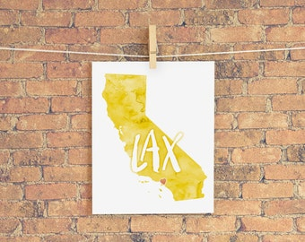 Los Angeles Love instant download printable wall art 8x10 - LAX, Heart Los Angeles, California State Map