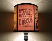 Circus lamp shade Lampshade Circus Sideshow - unique lighting, circus decor, drum lamp shade, freak show, boho, bohemian decor, burlesque
