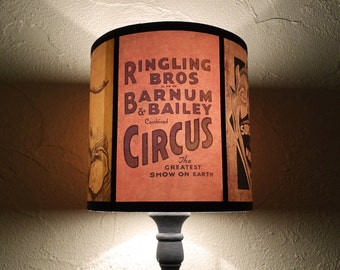 Circus lamp shade Lampshade Circus Sideshow - unique lighting, circus decor, orange salmon, drum lamp shade, boho, bohemian decor, burlesque
