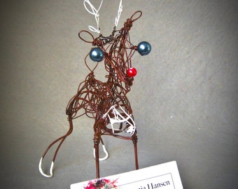 Christmas Reindeer Business Card Holder,  Wire Animal Art, Desk Decor, Trending Items, Holiday Table Decor, Ornaments and Accents