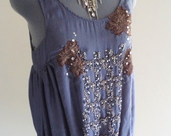 resort top, resort clothing, holiday wear, pure silk top, beaded clothing, embroidered top, cruise wear, blue silk top