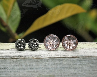 Faux Gunmetal Gray Druzy and Champagne Crystal Stud Earrings, 8mm and 12mm, Titanium or Stainess Steel Posts, 2 Pair Set, Smoke and Mirrors