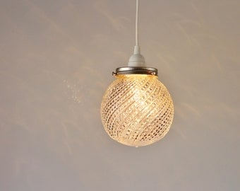 Pendant Light, Hanging Pendant Lamp, Clear Glass Ball Globe Shade With Bead Swirls, Modern BootsNGus Lighting and Home Decor