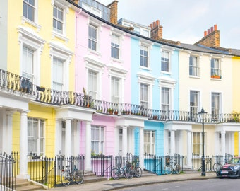 London Photography - Chalcot Crescent, Primrose Hill, Paddington, Pastel Houses, England Travel Photo, Large Wall Art, Nursery Decor