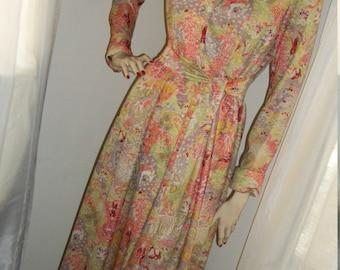 Vintage 1940s Rare Housecoat Hostess Gown Leslie Fay Knits Mint Cond Size M Maxi Gorgeous Oriental Print