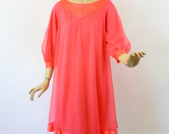 Vintage 60s BabyDoll Nightgown Coral Pink Nylon Chiffon w Long Sleeves by Goddard Artemis Size Small Bust 40