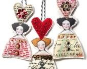 Valentine Doll Head Ornaments With Hearts Flat Fabric Art Doll Decorations Set Of Three