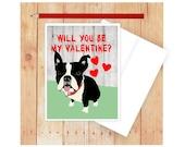 Dog Valentine Card, Dog Card, Dog Note card, Boston Terrier  Valentines Day Card, Happy Valentines Day Card, Valentine Card Him