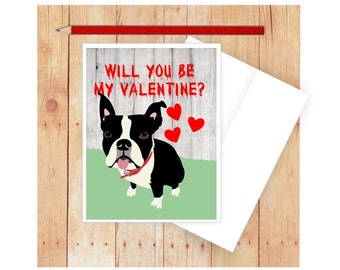 Dog Valentine Card, Dog Card, Dog Note Card, Boston Terrier Valentines Day  Card