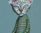 serious cat  - ORIGINAL ILLUSTRATION / cats drawing pink and red  / Colored pencil drawings / lady cat art