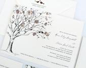 Love Birds Wedding Invitations, Rustic Wedding Invitations, Fall Wedding Invitations, Tree Invitations, Eggplant Purple, Burnt Orange, leaf
