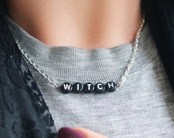 NEW silver black WITCH chain necklace - gift idea: have one personalised HALLOWEEN