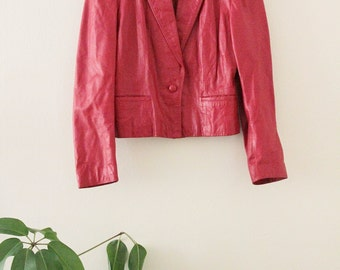 80's Red Leather Jacket