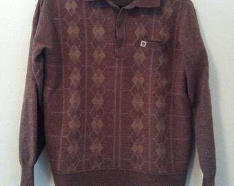 80's Brown Argyle Sweater