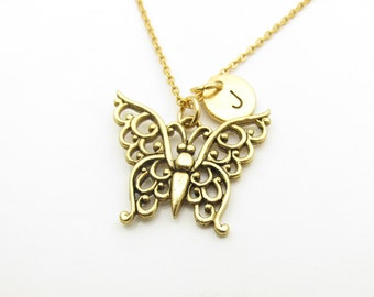 Butterfly Necklace, Filigree Butterfly, Intricate Butterfly Necklace, Antique Gold Butterfly Necklace, Personalized, Initial Necklace Z328