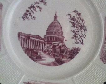 """Wedgwood Etruria Capital Washington D.C. Pink and White 10 1/4"""" Plate, Collectible White House Plate by Wedgwood,Vintage Wedgwood, USA ONLY"""