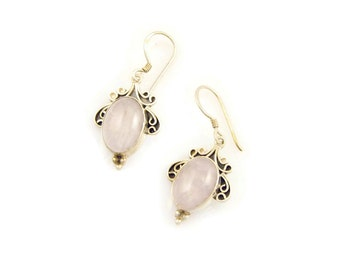 Vintage Rose Quartz Earrings Sterling and Pink Quartz Drop Earrings