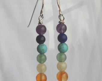 Sterling silver gemstone earrings chakra earrings gem rainbow earrings