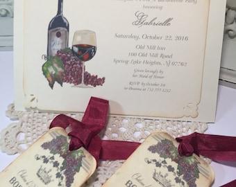 Bachelorette Party Invitation Vintage Wine Invitation Bride to Be French Wine  Bordeaux Wine Set of 10