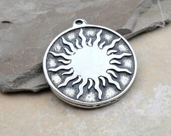 Sun Pendant, 25mm, 1pc, Hand Cast Pewter, Celestial Pendant, Sun Burst, Hemp Pendants -P356