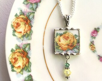 Broken china jewelry pendant necklace antique porcelain yellow rose with Swarovski crystals recycled china