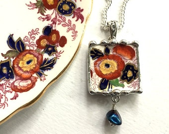 Broken china jewelry pendant necklace antique Royal Cauldon Majestic recycled china with crystal drop