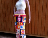 Hand Crochet Granny Square Skirt, Crochet Hippie Skirt, Boho, Festival Skirt, Long Crochet Skirt - MADE TO ORDER