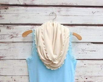 Scarf, Cream Infinity Scarf, Ivory Scarf, Jersey Knit Scarf, Fashion Accessories, Circle Scarf, Gift Idea, Gift for Mom