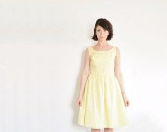pastel yellow mid century dress . sheer crepe . daisy flowers .small .sale