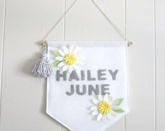 Daisy Custom Name Large Wall Hanging . Wall Banner . Personalize Baby Name Flag . Flower Nursery Wall Art . Nursery Decor