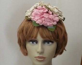 Vintage Hydrangea Tilt Hat - Fascinator - Topper
