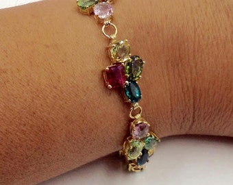 Tourmaline Bracelet, Stone Bracelet,  Multistone Bracelet, Multicolor Tourmaline Bracelet, Stone Bracelet, 3,200 Appraisal Included