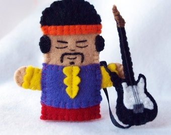Guitar player felt finger puppet, Guitarist finger puppet, singer felt puppet, songwriter felt puppet, finger puppet, electric guitar player