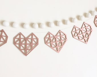 Rose Gold Geometric Heart Garland // Wooden Home Decor // Copper Home Accents //wedding decor // heart // nursery wall hanging // valentines