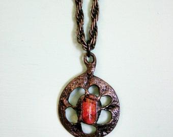 Vintage 1960s-70s Large Metal and Pink Stone Pendant Necklace on Thick Twisted Chain