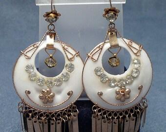 Dangling Fringed Bollywood Style Rhinestone Earrings