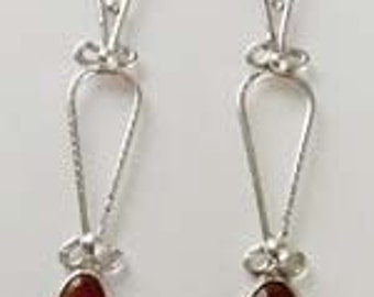 Pure Carnelian Stone & Sterling Silver Dangle Earrings (E7)