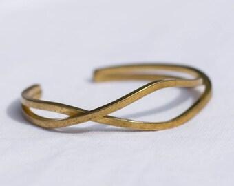 Brass Open Wavy Cuff | Adjustable | B21615