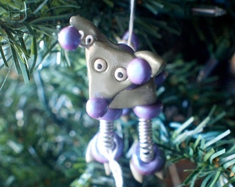 Reindeer Bot PURPLE PEANUT Geeky Robot  Christmas Ornament - Clay, Wire, Paint