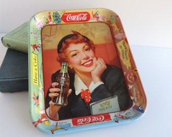 Vintage Mid-Century Coca-Cola Menu Girl Metal Serving Tray, 1950s Coke Advertising, Home Kitchen Serveware, Barware Decor