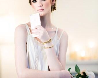 Vintage Crystal long Gold Chain Chandelier Earrings