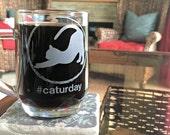 Caturday Cat Coffee Mug, Glass Coffee Cup, Coffee Mug, Cat Silhouette, Animal Lover Gift, Cat Lovers Mug